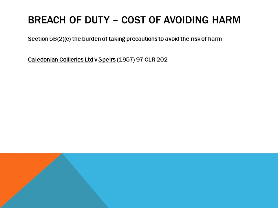 Breach of Duty – Cost of Avoiding Harm