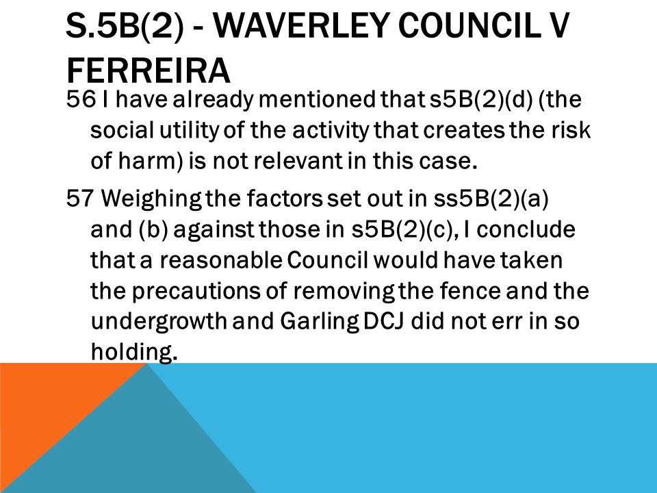s.5B(2) - Waverley Council v Ferreira