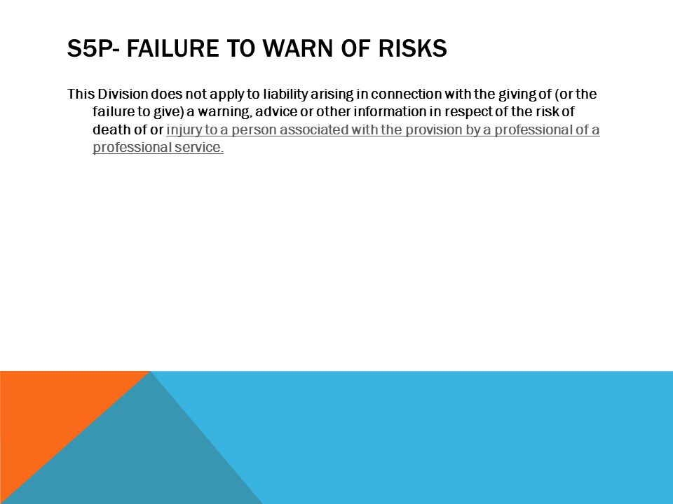 s5P- Failure to warn of risks