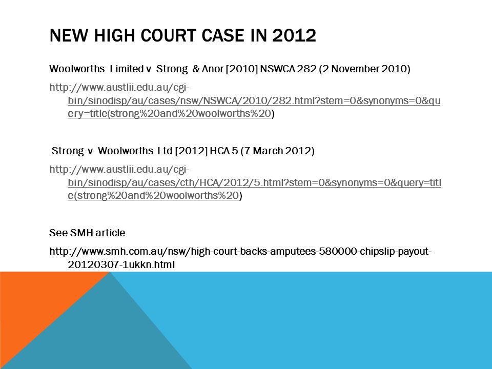NEW HIGH COURT CASE IN 2012