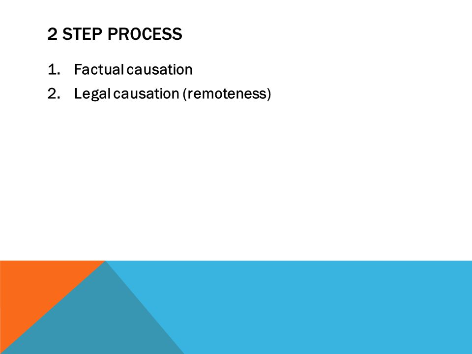 2 step process Factual causation Legal causation (remoteness)