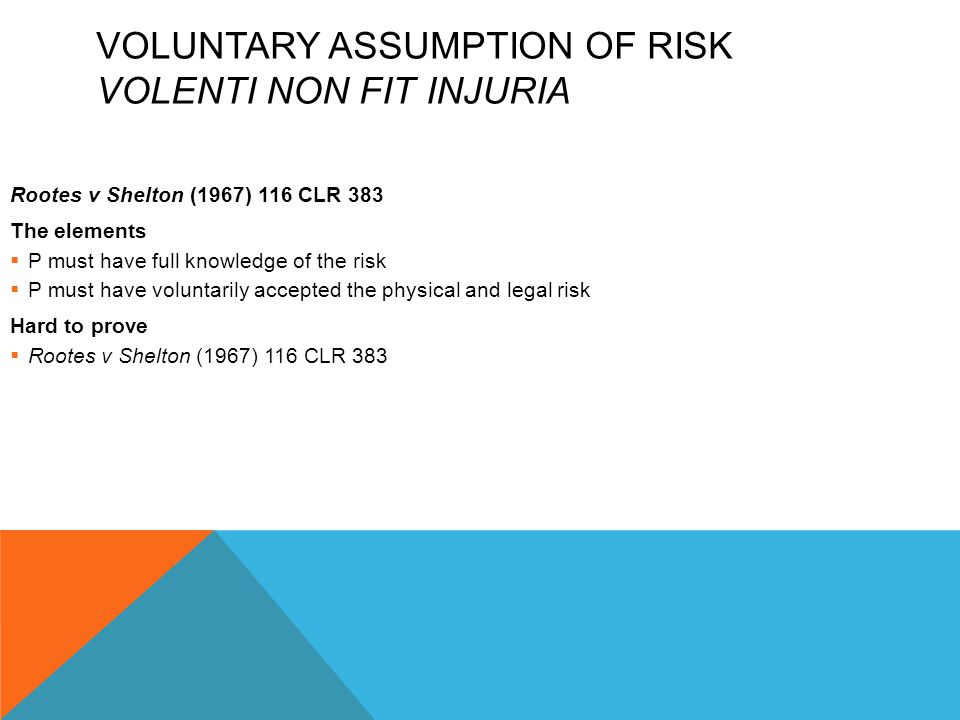 Voluntary Assumption of Risk Volenti Non Fit Injuria