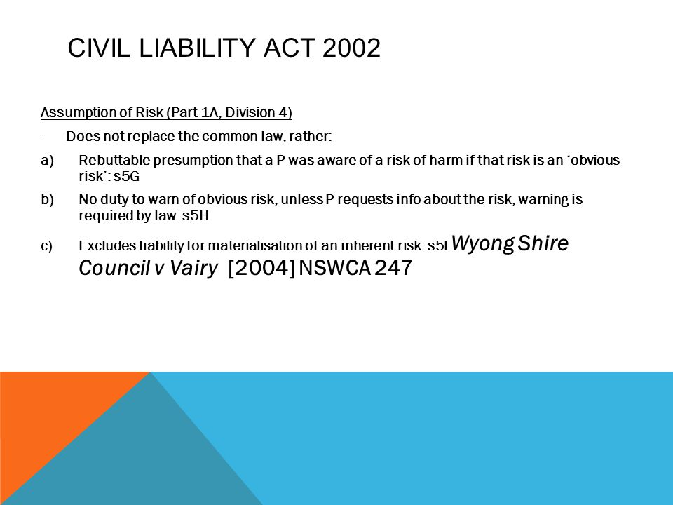 Civil Liability Act 2002 Assumption of Risk (Part 1A, Division 4)
