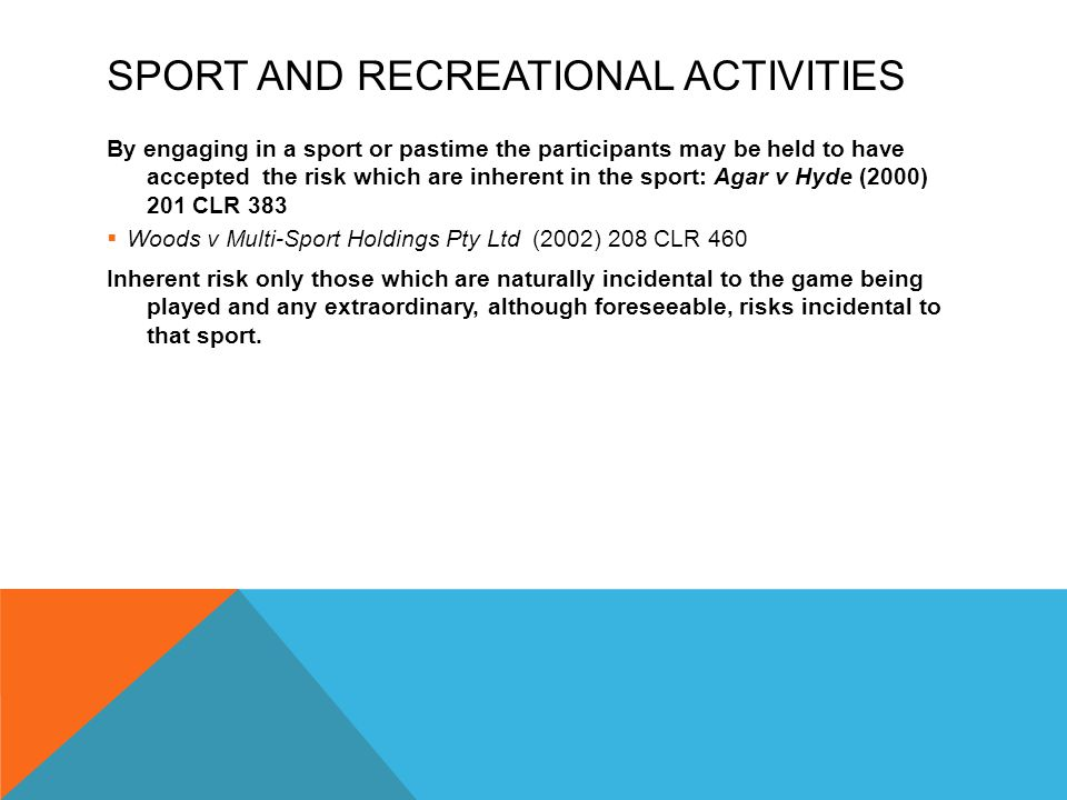 Sport and Recreational Activities