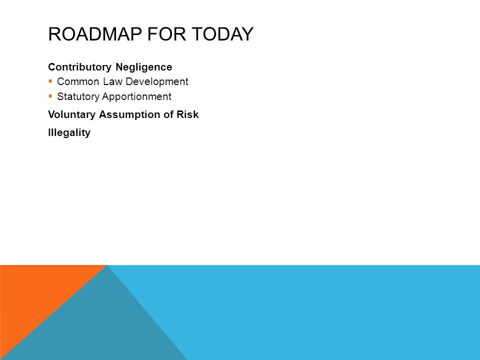 Roadmap for Today Contributory Negligence Common Law Development