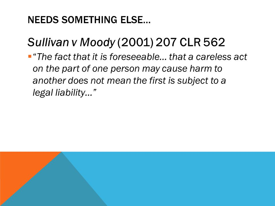 Sullivan v Moody (2001) 207 CLR 562 Needs Something Else…