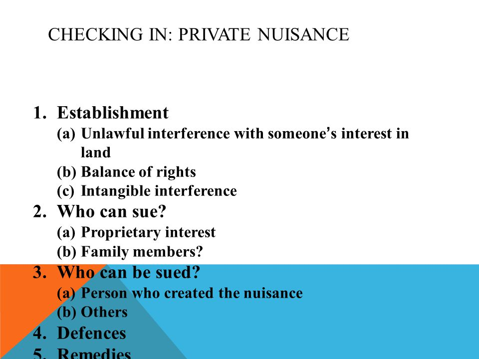 Checking In: Private Nuisance