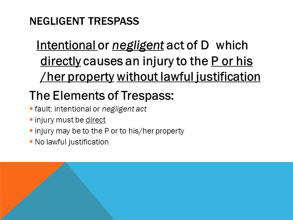 The Elements of Trespass: