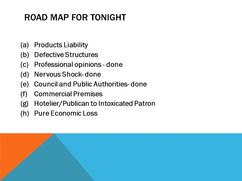 Road Map for Tonight Products Liability Defective Structures