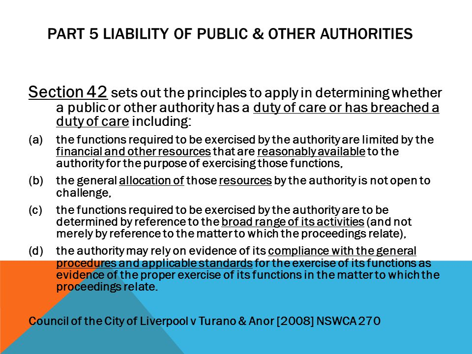 Part 5 Liability of Public & Other Authorities
