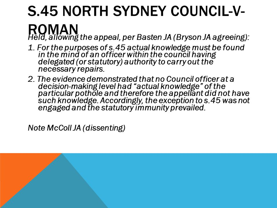 s.45 North Sydney Council-v- Roman