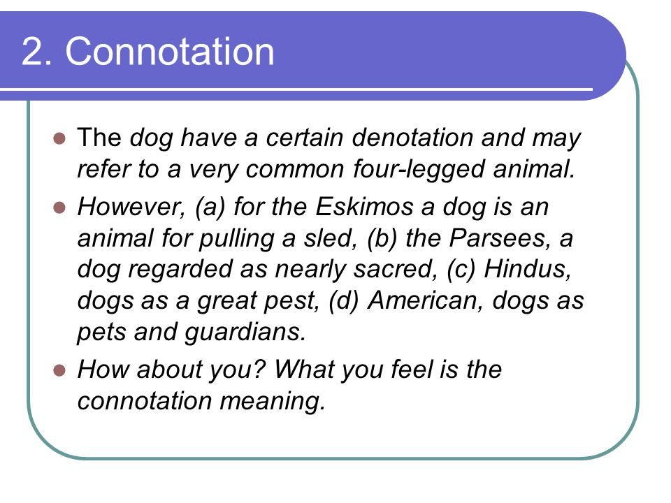 2. Connotation The dog have a certain denotation and may refer to a very common four-legged animal.