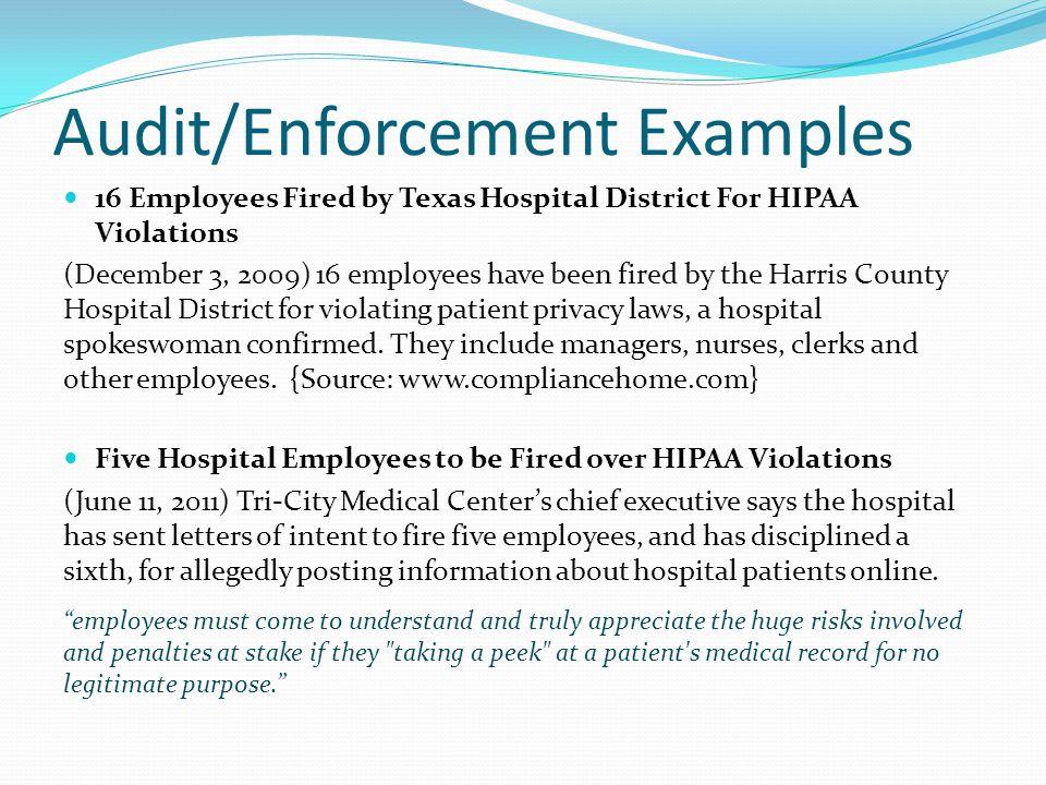 Audit/Enforcement Examples