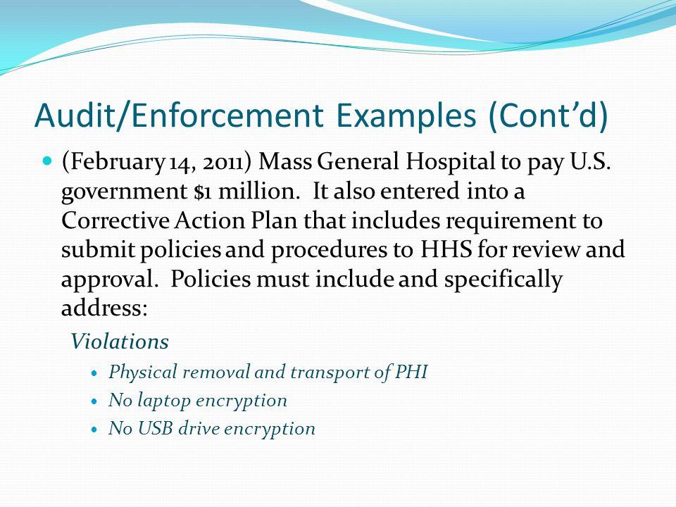 Audit/Enforcement Examples (Cont'd)