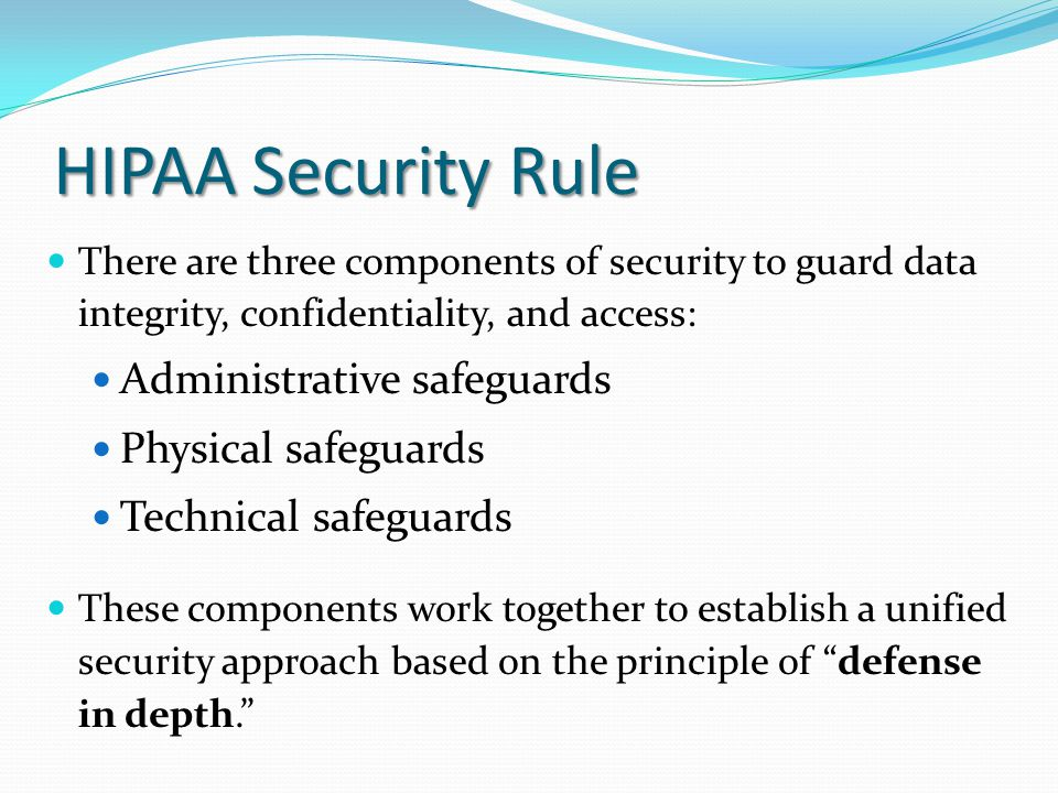 HIPAA Security Rule Administrative safeguards Physical safeguards