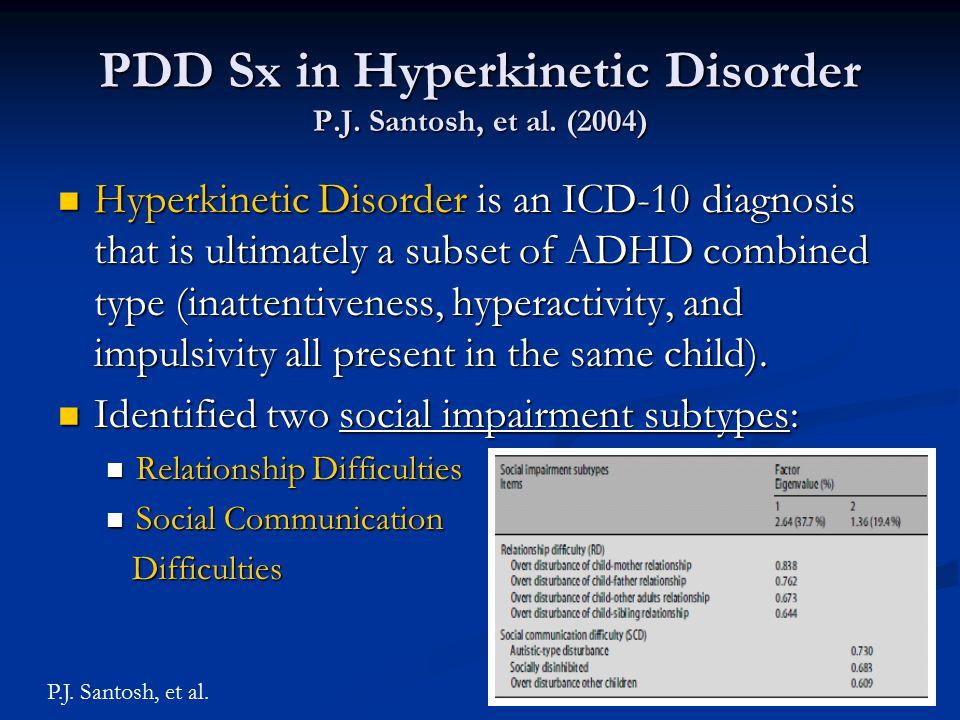 PDD Sx in Hyperkinetic Disorder P.J. Santosh, et al. (2004)