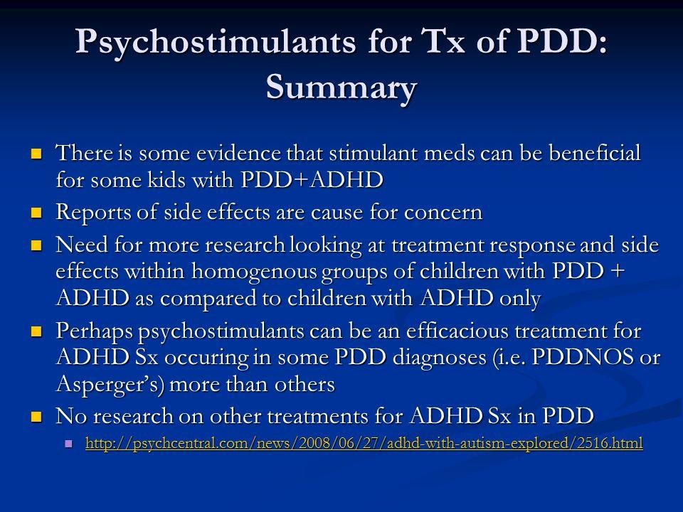 Psychostimulants for Tx of PDD: Summary