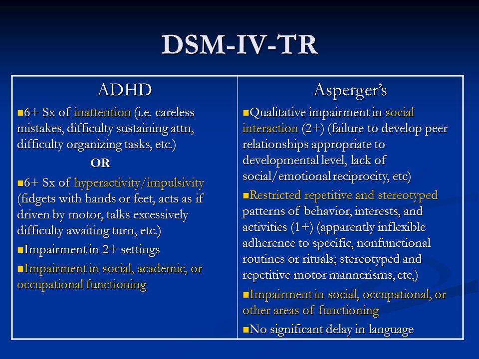 DSM-IV-TR ADHD Asperger's