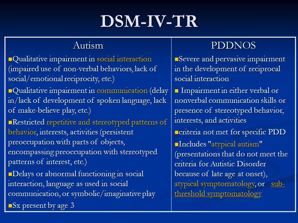 DSM-IV-TR Autism PDDNOS