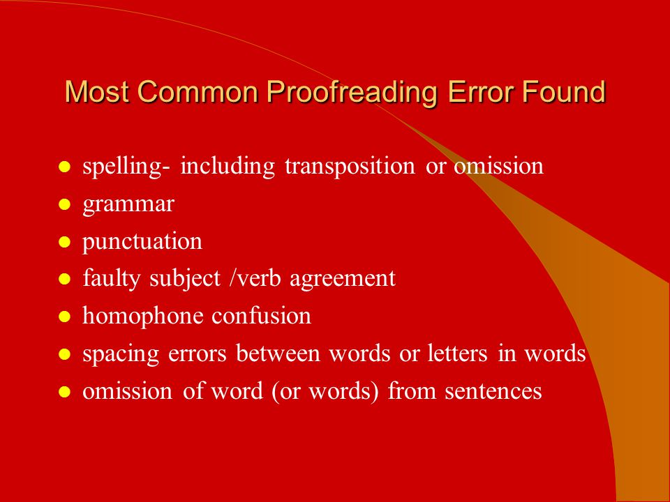 Most Common Proofreading Error Found