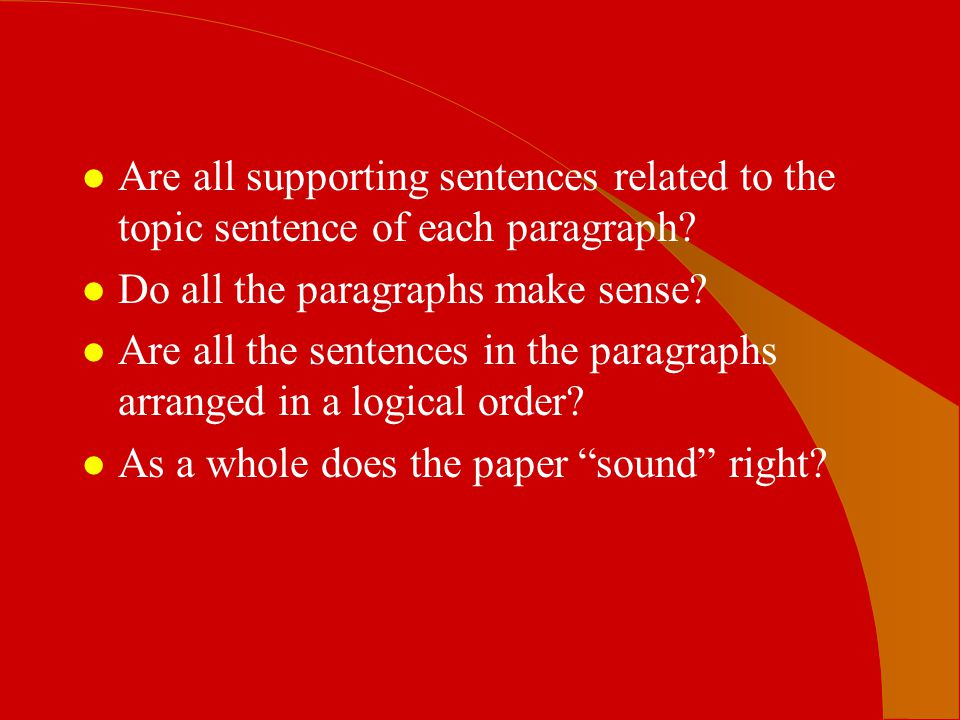 Are all supporting sentences related to the topic sentence of each paragraph