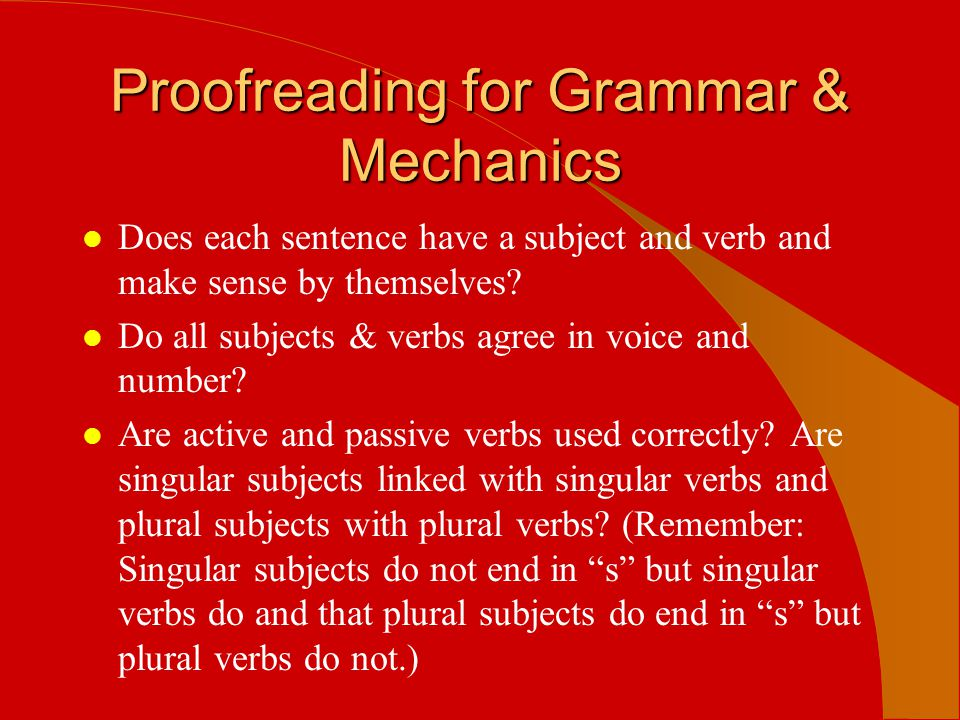 Proofreading for Grammar & Mechanics