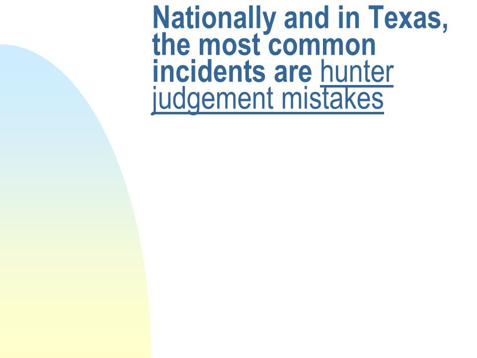 Nationally and in Texas, the most common incidents are hunter judgement mistakes