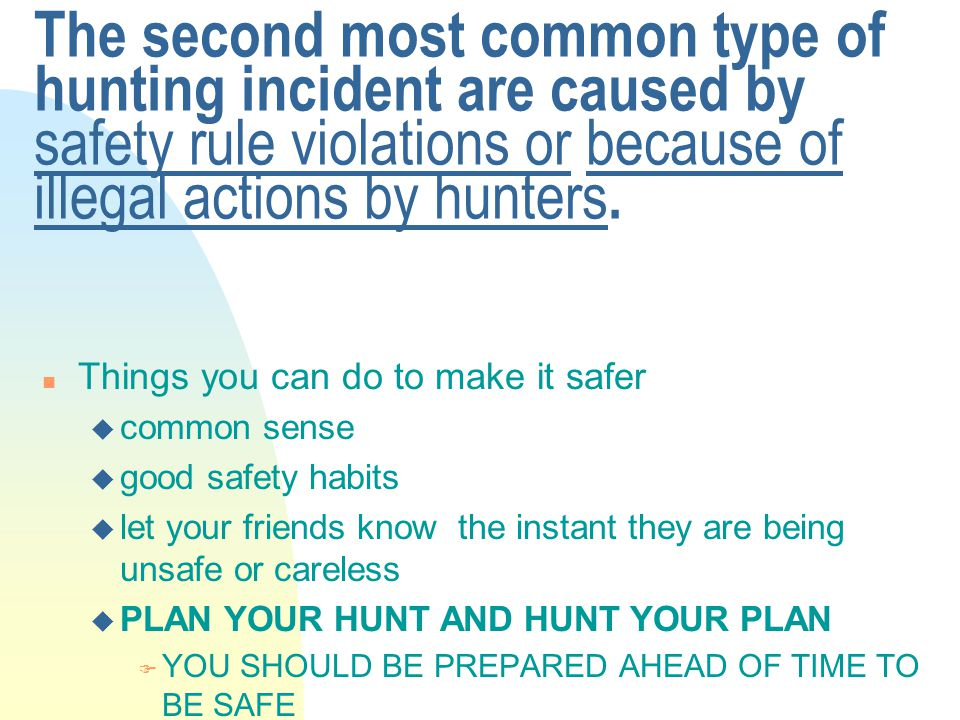 The second most common type of hunting incident are caused by safety rule violations or because of illegal actions by hunters.