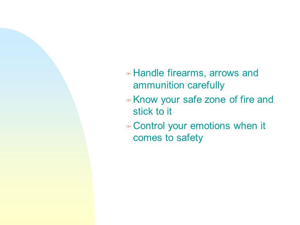 Handle firearms, arrows and ammunition carefully