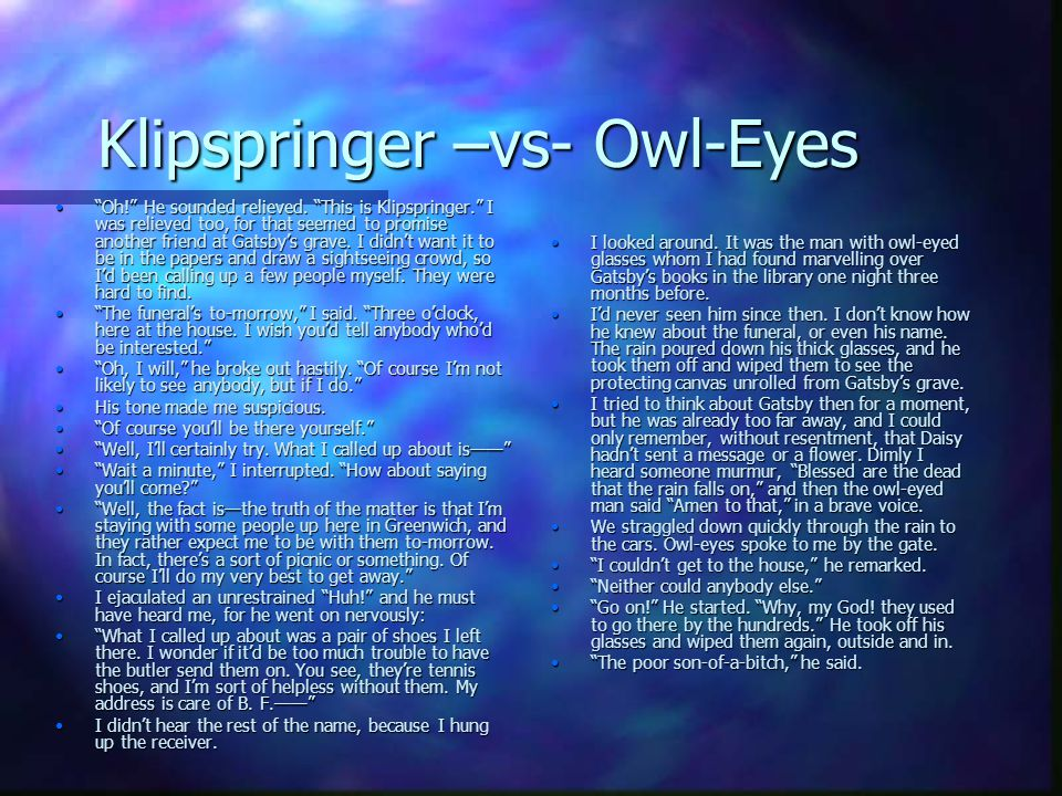 Klipspringer –vs- Owl-Eyes