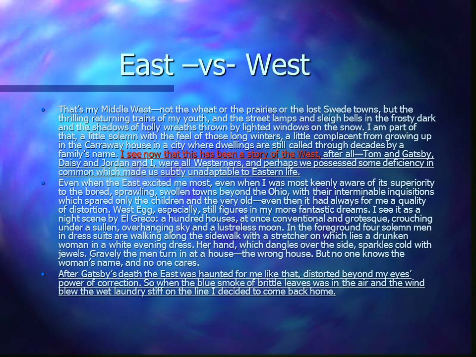 East –vs- West