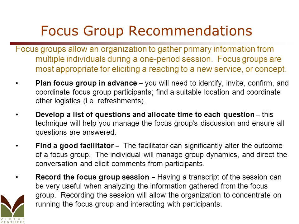 Focus Group Recommendations