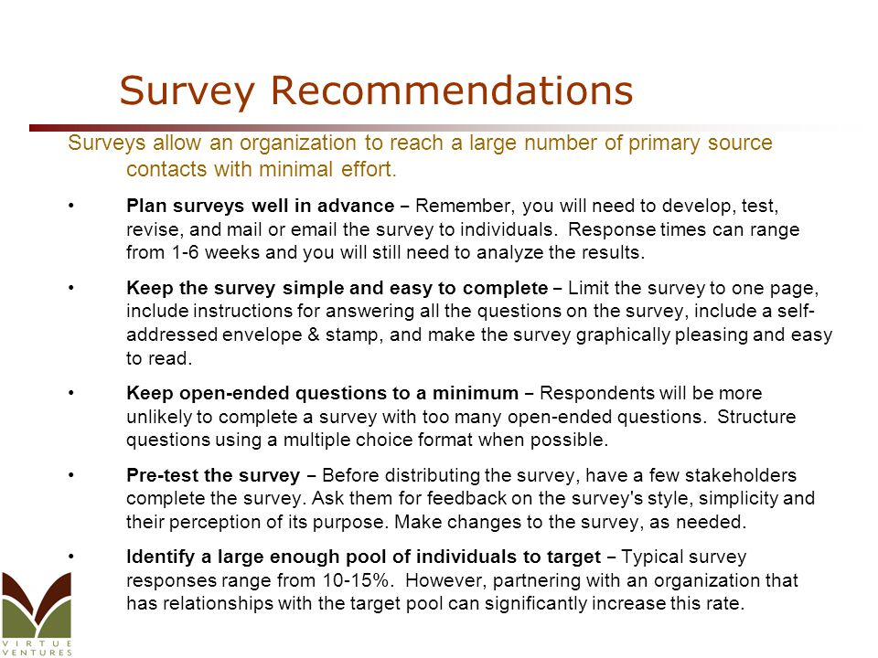 Survey Recommendations