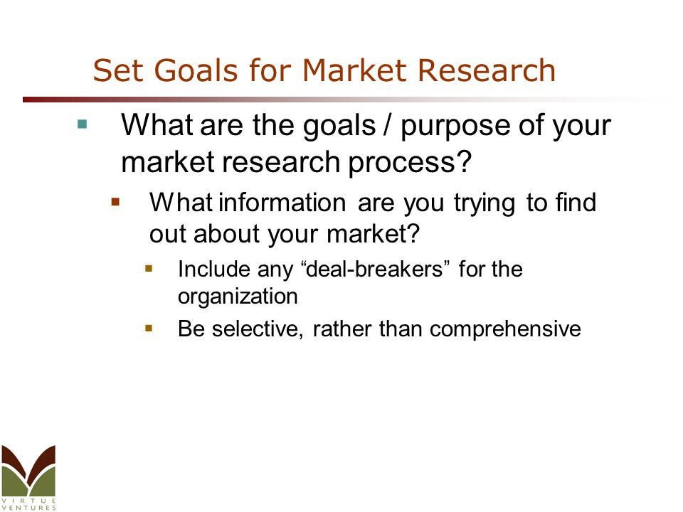 Set Goals for Market Research