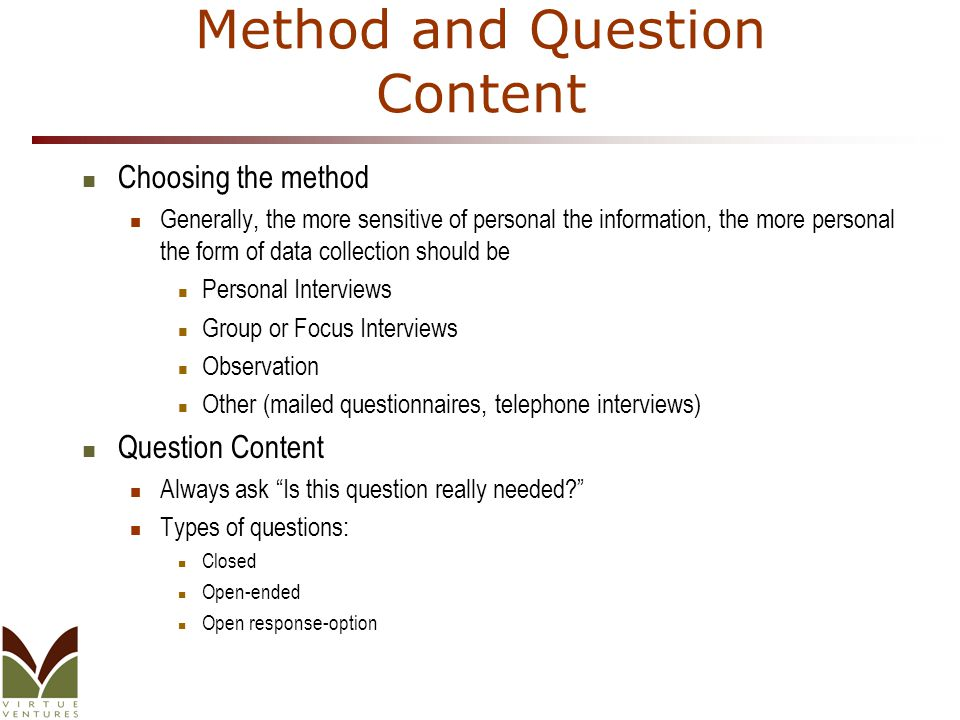 Method and Question Content