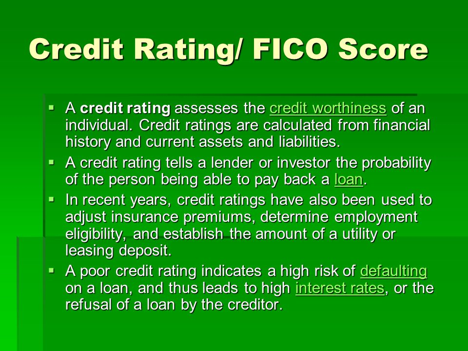 Credit Rating/ FICO Score