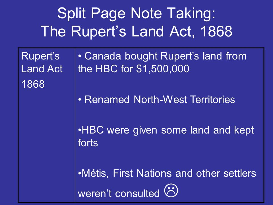 Split Page Note Taking: The Rupert's Land Act, 1868