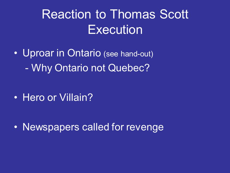 Reaction to Thomas Scott Execution