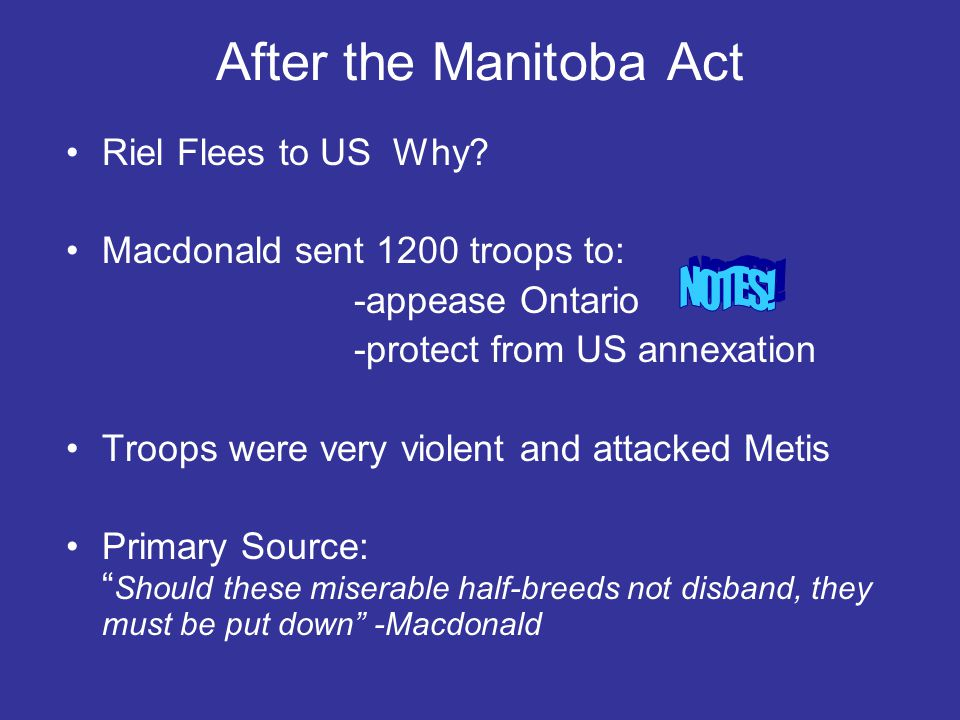 After the Manitoba Act NOTES! Riel Flees to US Why