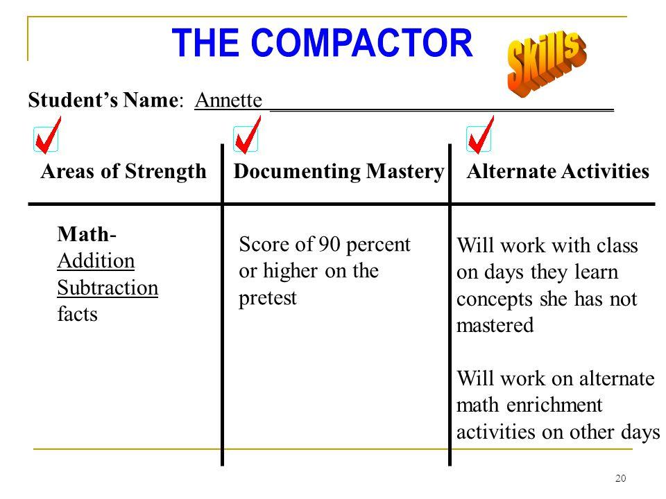 Skills Student's Name: Annette _______________________________