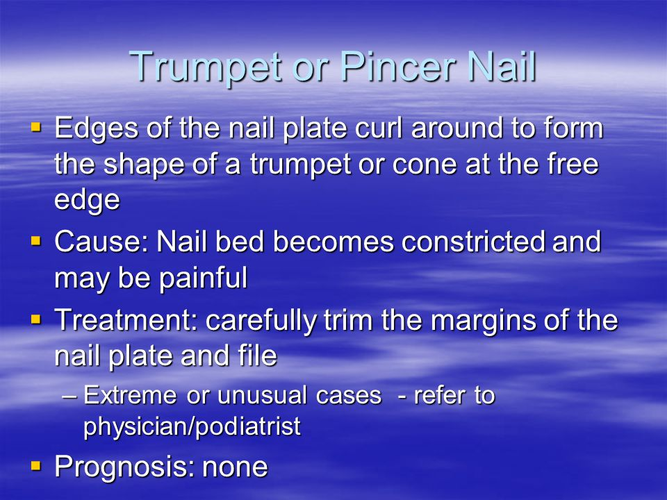 Trumpet or Pincer Nail Edges of the nail plate curl around to form the shape of a trumpet or cone at the free edge.