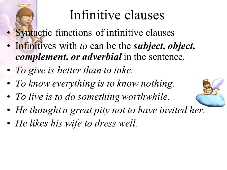 Infinitive clauses Syntactic functions of infinitive clauses
