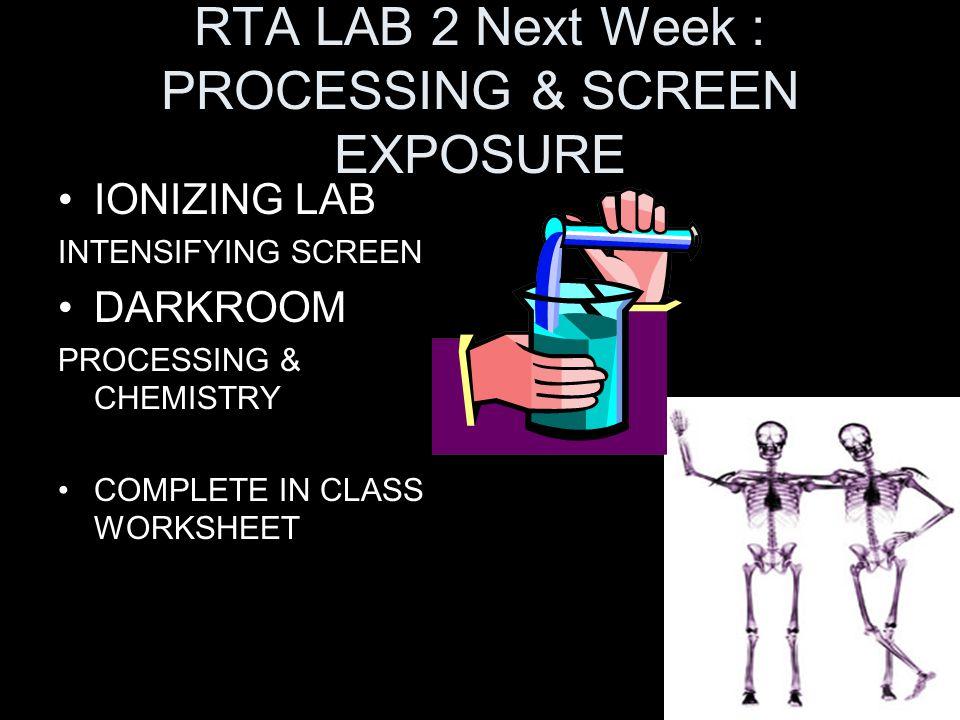 RTA LAB 2 Next Week : PROCESSING & SCREEN EXPOSURE