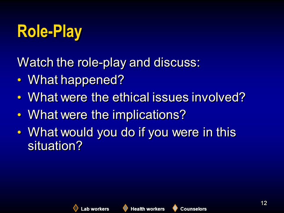Role-Play Watch the role-play and discuss: What happened