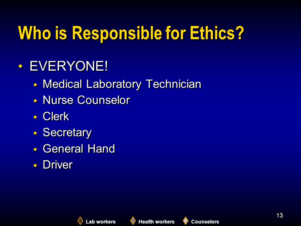 Who is Responsible for Ethics