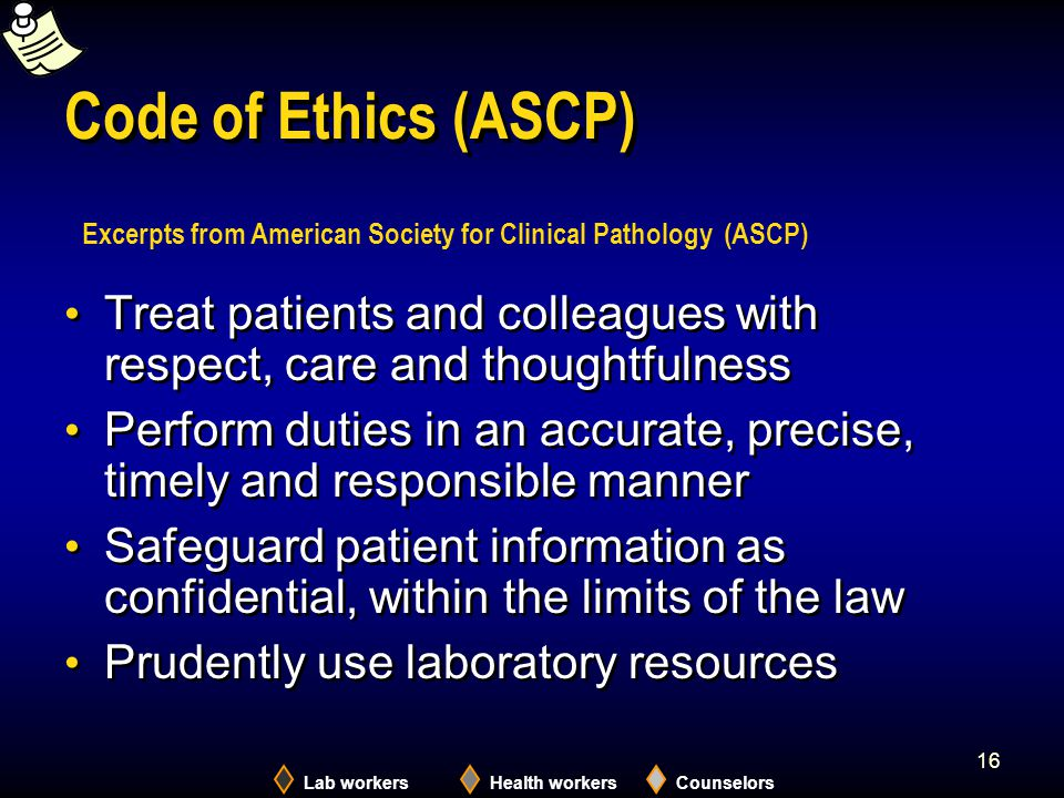 2005 Code of Ethics (ASCP) Excerpts from American Society for Clinical Pathology (ASCP)
