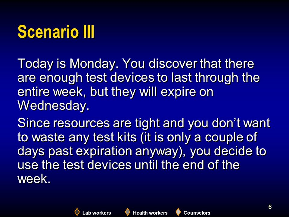 Scenario III Today is Monday. You discover that there are enough test devices to last through the entire week, but they will expire on Wednesday.