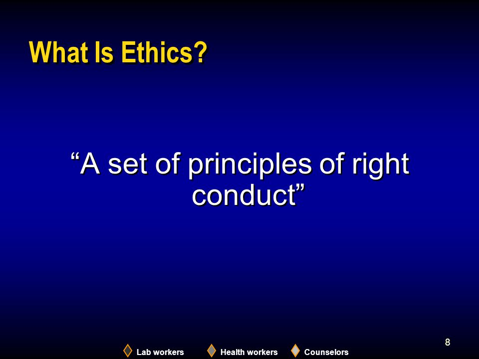 A set of principles of right conduct