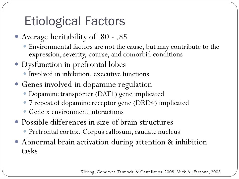 Etiological Factors Average heritability of .80 - .85