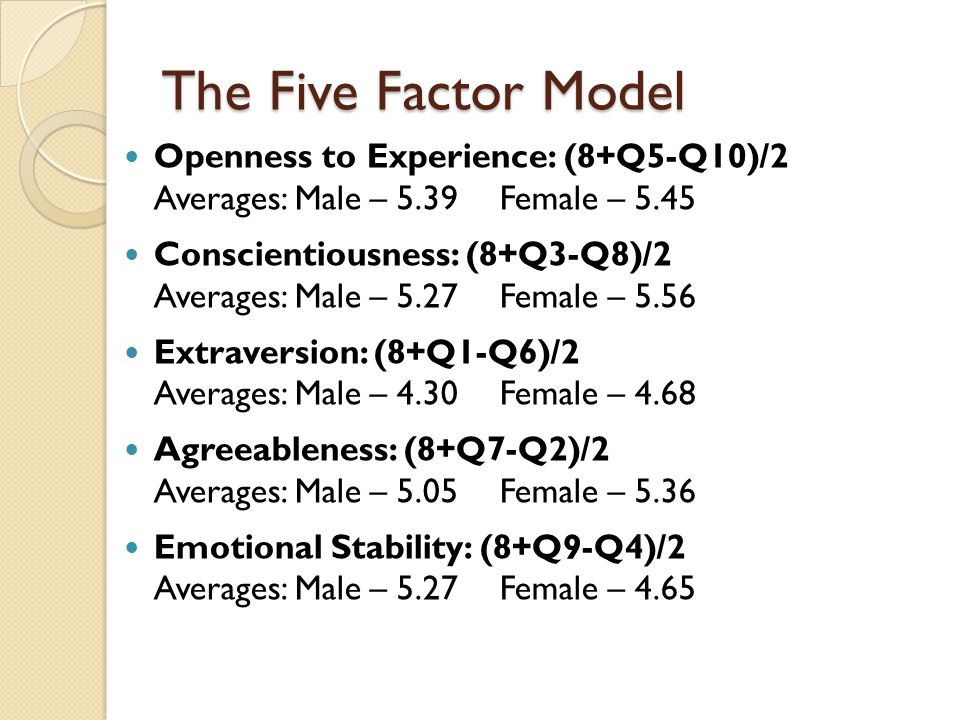 The Five Factor Model Openness to Experience: (8+Q5-Q10)/2